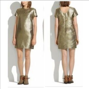 Madewell Gold Metallic T-Shirt Dress Size 12